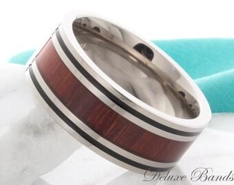 Titanium Wood Inlay Titanium Wedding Band Hawaiian Koa Wood Inlay Promise Wedding Ring Titanium Wood Anniversay Ring Custom Laser Engraving