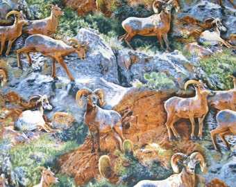 BTY ROCKY GRANDEUR Mountain Sheep Ram Print 100% Cotton Quilt Craft Fabric by the Yard