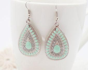 Green tear drop earrings, tribal earrings.Bohemian Earrings