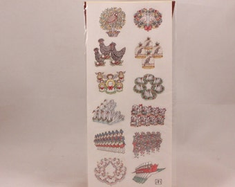 Vintage 1992 B. Shackman The Twelve Days of Christmas Seals. 3 Sheets Pressure-Sensitive Embossed Sealed Stickers.