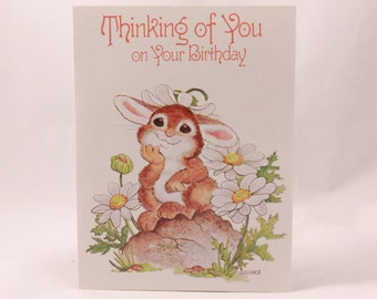 """Artfaire """"Thinking of you on your Birthday"""" Single Card with Envelope. Bunny"""