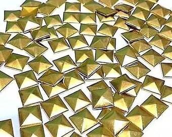 100 Metal 7mm Gold Hot Fix Pyramid Studs Stick on Embellishments, Punk, Goth, DIY Fashion by Craftbuddy US