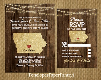 State of Iowa Destination Wedding Invitations,Rustic,Gold Glitter Print,Strands of Lights,Red Heart,Opt RSVP,Customizable With Envelopes