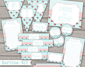 Baptism Kit - LDS Girl Decor Party Bundle Pink Blue Choose the Right Banner Water Bottle Label Tag Cupcake Topper Thank You Handout