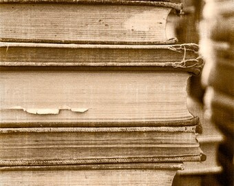 Neutral Home Decor, Book Photography, Vintage Wall Art, Photography Art Print, Library Art, Sepia Stack