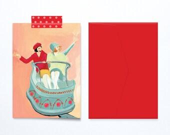 Two friends birthday card joyful feminine  vintage