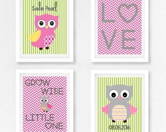 Baby Girl Baby Shower Gift, New Baby Girl Gift, Pink and Green Nursery, Owl Nursery Prints, Personalised Baby Girl Baby Shower Gift