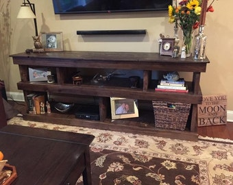 Reclaimed Wood TV Console, Rustic Console Table, Bookshelf, TV Stand