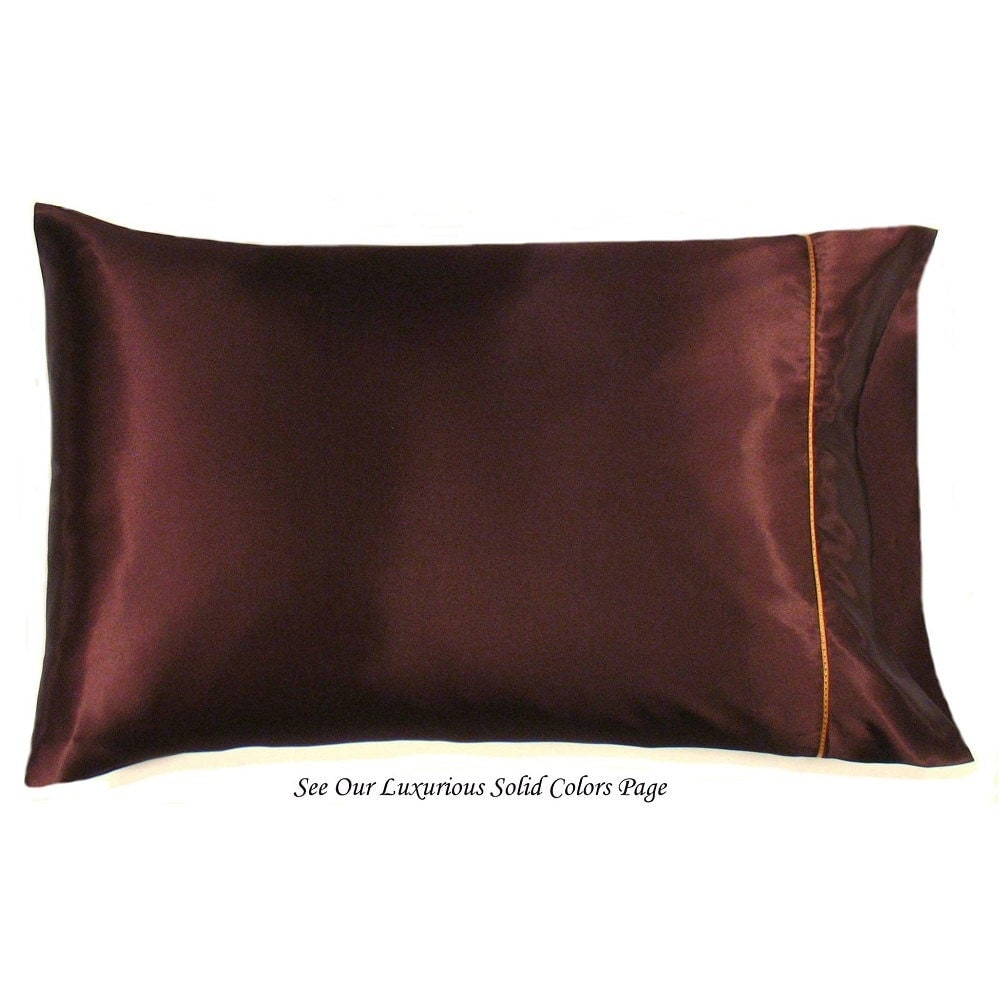 Brown Pillowcases Satin. Bedding For Sensitive Hair Skin And