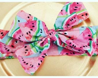 Watermelon headband-Big bow-watermelon headwrap-Bow-baby-toddler-child-summer headband-pink-headwrap