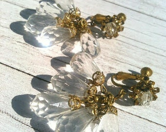 Miriam Haskell Chandelier Lucite Earrings Circa 1950s