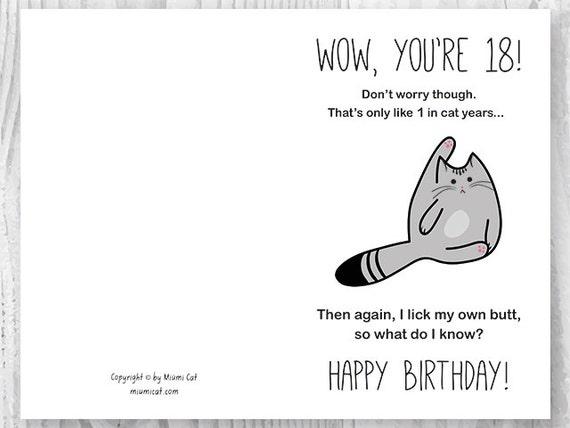 18th Birthday Printable Cards Printable Funny Birthday Cards – Black and White Birthday Cards Printable