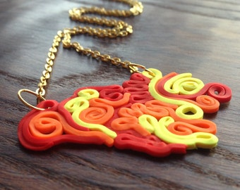 Flames - Polymer Clay Squiggle Necklace