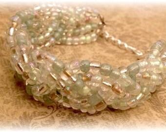 Seafoam Statement Bracelet, Chunky Bracelet, Braided Bracelet, Beaded Bracelet, Statement Bracelet, Teal Blue Bracelet, Gifts for Her