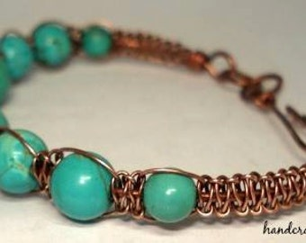 Copper Macrame Turquoise Bracelet