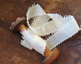 Ivory Grosgrain Picot  Loop Edge Ribbon