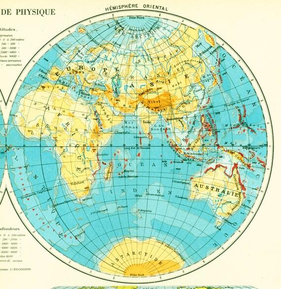 1950 mappemonde depth ocean tectonic planisphere globe antique. Black Bedroom Furniture Sets. Home Design Ideas
