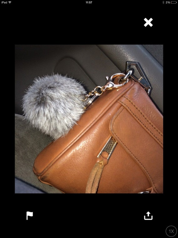 No Dye Grey Cute Genuine Rabbit fluffy ball furkey fur ball pom pom keychain for car key ring Bag Pendant
