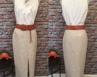 Vintage Lansford  Taupe Linen Front Slit Maxi Skirt   Size 6