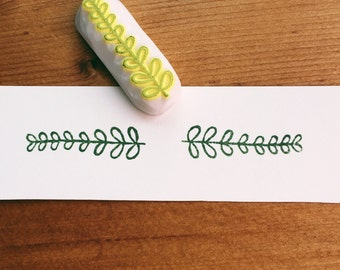 leaf hand carved rubber stamp.leaf stamp.