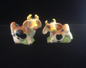 Spotted Cow on Green Grass Salt and Pepper Shakers