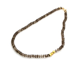Smoky quartz necklace,gold necklace,everyday necklace,delicate necklace,gemstone necklace,beaded necklaces,brown necklace