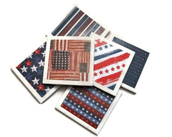 4th of July Coasters - Flag Coasters - American Flag Coasters - USA Coasters - Americana Coasters - Fourth of July Decor - Patriotic Coaster