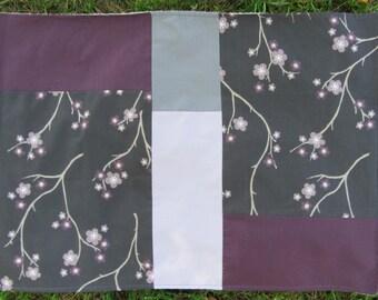 Bathmat - Modern Patchwork Bathmat - Asian Flower Bathmat - Handmade Bath Mat