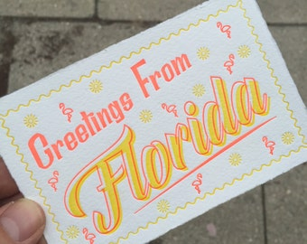 Greetings From Florida Letterpress Postcard