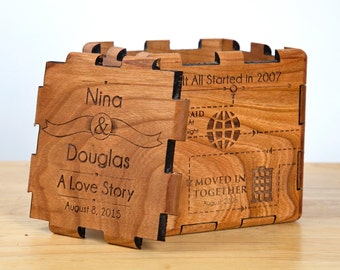 Custom Designed Wedding Keepsake Box - Natural Wood with a personalized timeline of how the couple met to when they married.