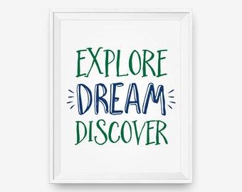 Explore Dream Discover Quotes, Travel Poster, Mark Twain Quote, Nursery Art, Children Decor - Digital Download