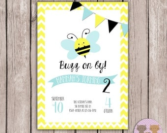 PRINTABLE- Bee Birthday Invite- Bumble Bee Birthday Invite- Birthday Invite- 5x7 JPG