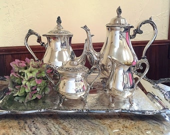 William Rogers Silver Plate Tea Coffee Set Butler's Tray Silverplate Salver Tea Party