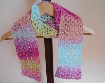 "Hand Crochet Scarf 55"" by 5"" Variegated Scarf Pink, Blue, And Yellow Scarf"
