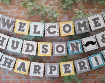 Welcome Baby + Name Banner, Welcome Baby Sign, Welcome Baby Mustache and Bows Banner, Baby Shower Banner, Twins Baby Shower Decoration