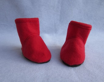 18 in doll boots, red fleece boots. Handmade doll shoes, 18 in doll footwear, red doll shoes, fleece doll boots