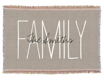 Family Monogram Throw Blanket - Woven Throw, Custom Monogrammed Throw Blanket, Brown Rustic Chic