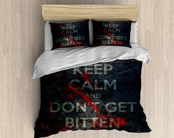 Zombie Bedding - Keep Calm Zombie Duvet Cover, Duvet Set, Black and Red Bedding Set, Zombie Walker Bedding