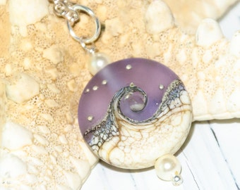Ocean necklace color change beads purple pale blue wave lampwork gift for her gift for mom Swarovski pearlsl Ocean jewelry beach jewelry