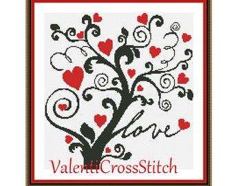 Tree Cross Stitch Pattern, Love Tree, Cross Stitch Pattern, Patterns, Chart, Counted Cross Stitch, SP-179