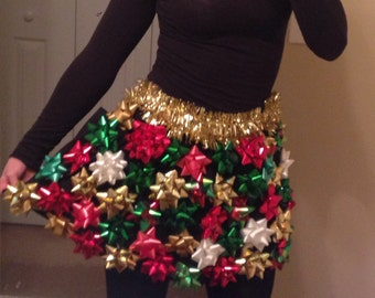 Ugly Christmas Sweater/ Skirt with Bows - Ugly Christmas Sweater Party - Bow Skirt