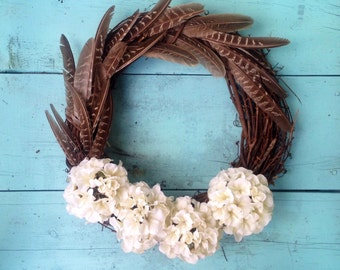 White Hydrangea Wreath, Spring Wreath,  Rustic Wreath, Wedding Wreath, Summer Wreath, Home Decor, Hydrangea Wreath, Rustic Decor