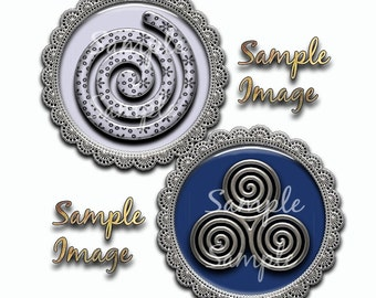 Funky Spirals 1 inch circle collage sheet 4x6 sheet Instant download