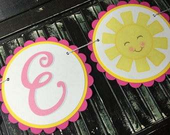 You Are My Sunshine High Chair Banner-High Chair Bunting-First Birthday-Photo Prop-Birthday-Baby Shower-I Am One-One Year Old Banner-Sun