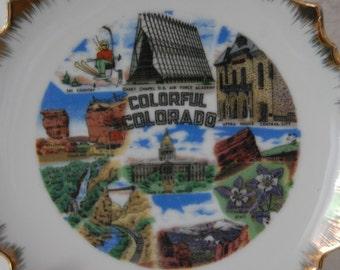 Colorado Souvenir Plate Vintage Colorado Memorabilia Scenes of Colorado Royal Gorge Balanced Rock Pikes Peak 1960s Colorado