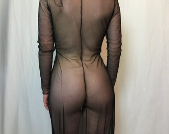 Vintage Sheer Mesh Maxi Long Sleeve Dress Size Medium Vintage See Through