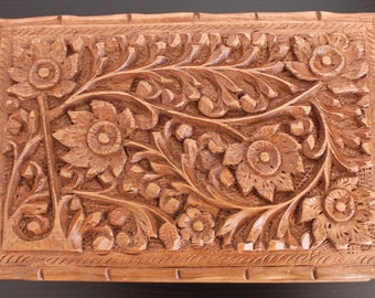 Intricate walnut wood box, handmade in Kashmir.