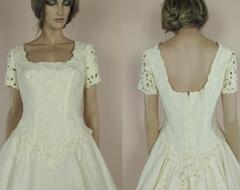 Vintage wedding Dress 90's – Bridal gown from 1990s - Square Neckline dress