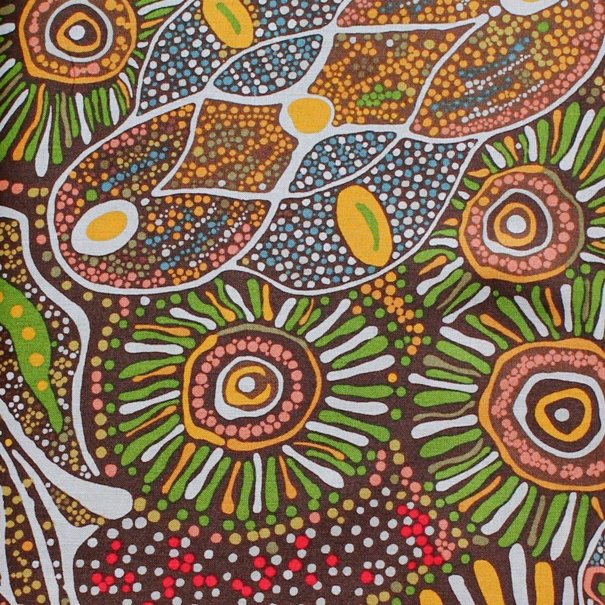 Australian aboriginal quilting fabric bush tucker after rain for Star fabric australia