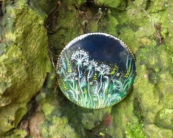 Wooden brooch Night Meadow Herbs - made to order - hand painted lacquer brooch
